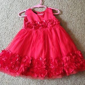 Red flower  girls dress